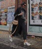 sweater,turtleneck sweater,white sneakers,trainers,black pants,striped pants,oversized coat,black coat,bag