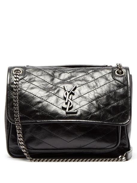 Saint Laurent - Niki Medium Quilted Crinkled Leather Shoulder Bag - Womens - Black