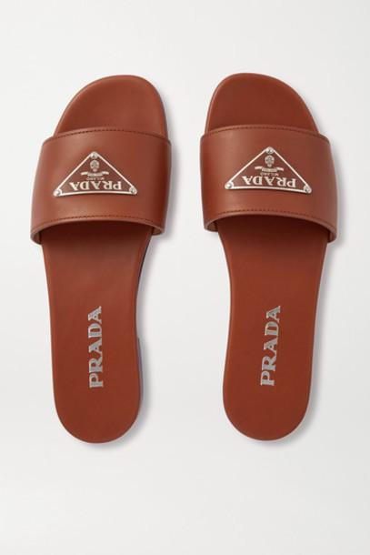 Prada - Logo-embellished Leather Slides - Tan