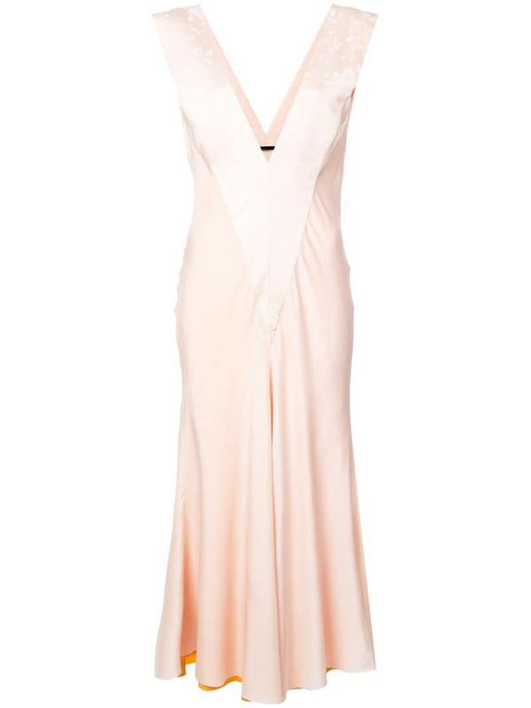 Haider Ackermann draped v-neck dress in pink