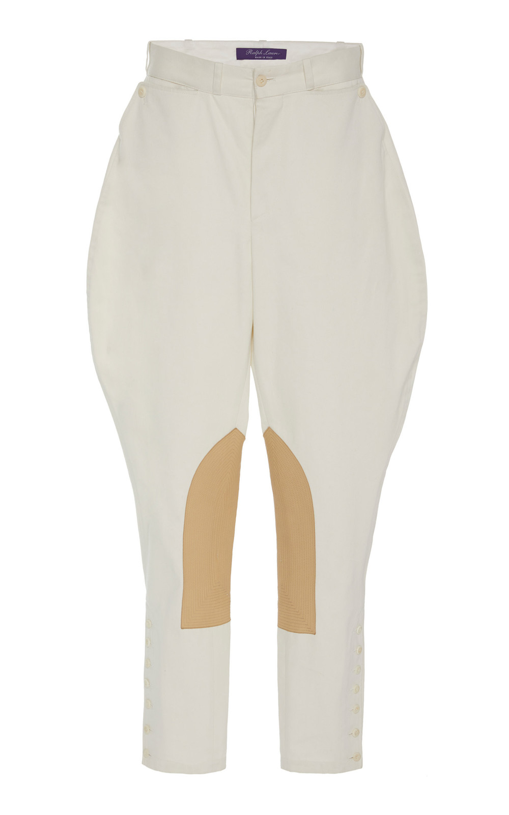 Ralph Lauren Leather-Paneled Cotton-Twill Pants in white