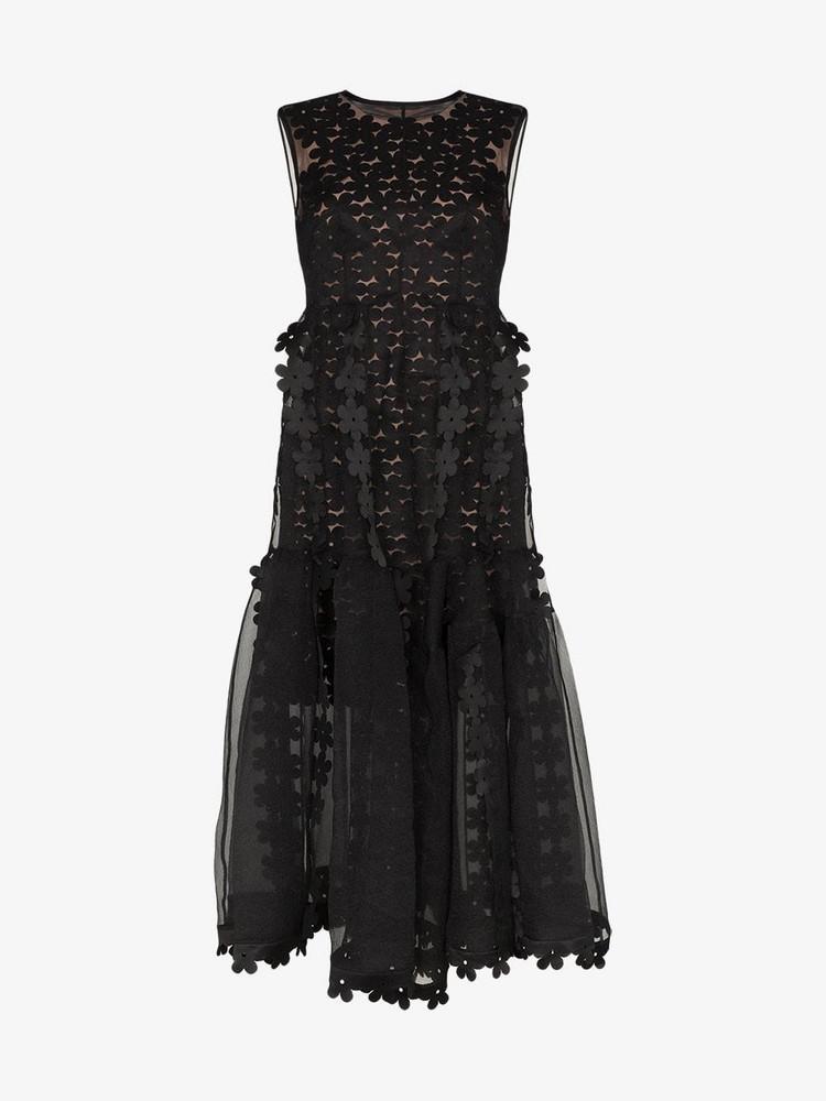 Paskal Sleeveless sheer midi dress in black