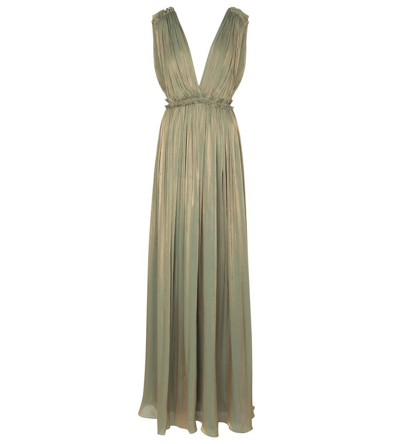 Costarellos Lorelle pleated gown in gold