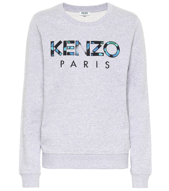 Kenzo Logo cotton sweater in grey