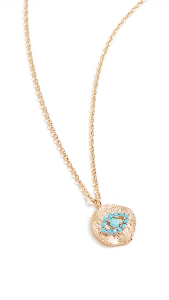 Theia Jewelry Kari Disc Pendant with Protecting Eye in gold