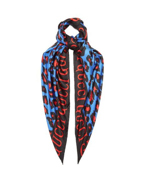 Gucci - Leopard And Logo Print Silk Scarf - Womens - Blue
