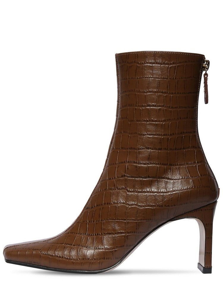 REIKE NEN 80mm Croc Embossed Leather Ankle Boots in tan