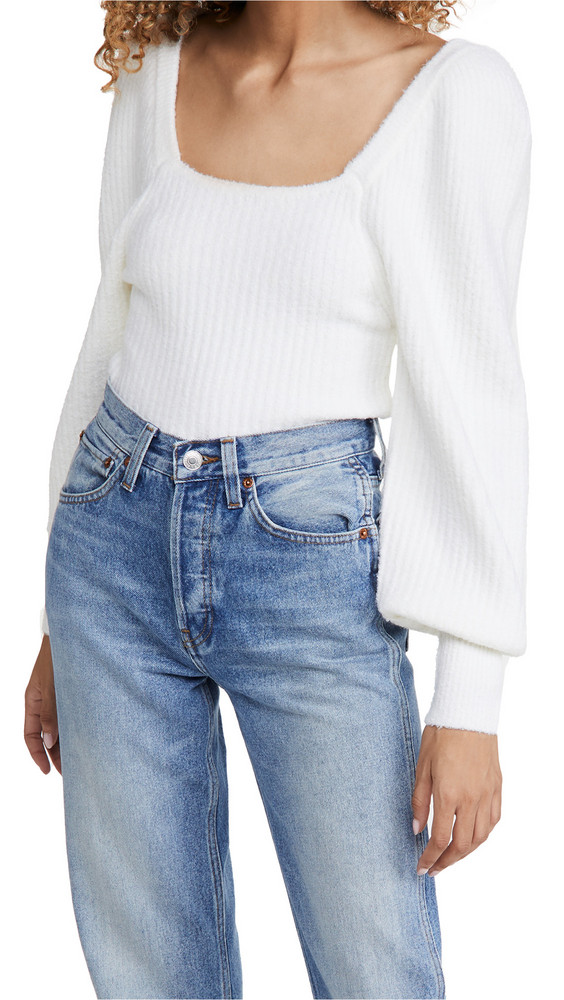 Line & Dot Kimberly Square Neck Ribbed Sweater in ivory