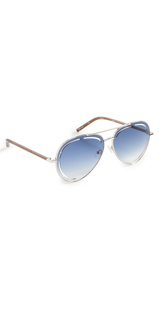 Linda Farrow Luxe x Matthew Williamson Foxglove Sunglasses in blue / chocolate / gold