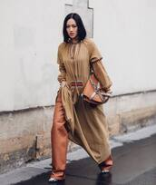dress,maxi dress,loewe,leather pants,boots,brown bag,loewe bag