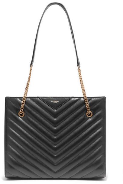 Saint Laurent - Tribeca Medium Quilted Textured-leather Tote - Black