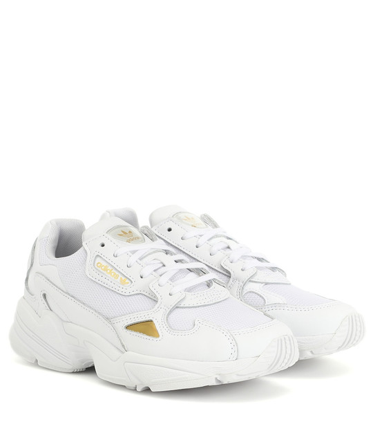 Adidas Originals Falcon leather-trimmed sneakers in white