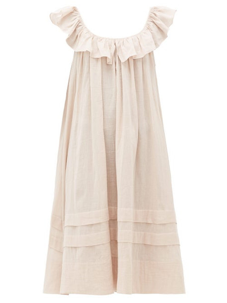 Loup Charmant - Cirrus Ruffled Organic Cotton Muslin Smock Dress - Womens - Light Pink