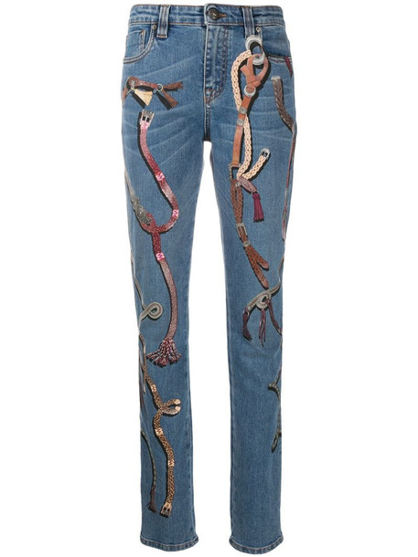 Etro buckle-print slim fit jeans in blue