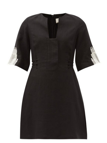 Zeus + Dione Zeus + Dione - Dokos Embroidered Linen Mini Dress - Womens - Black