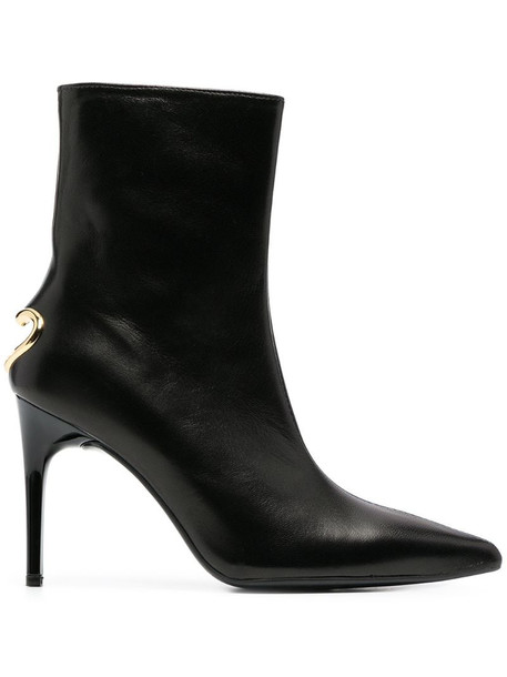Love Moschino cut-out heart heel ankle boots in black