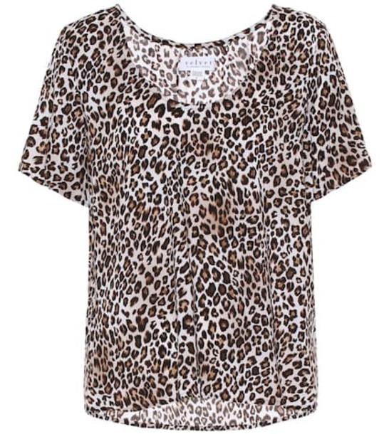 Velvet Caroline leopard-print blouse in brown