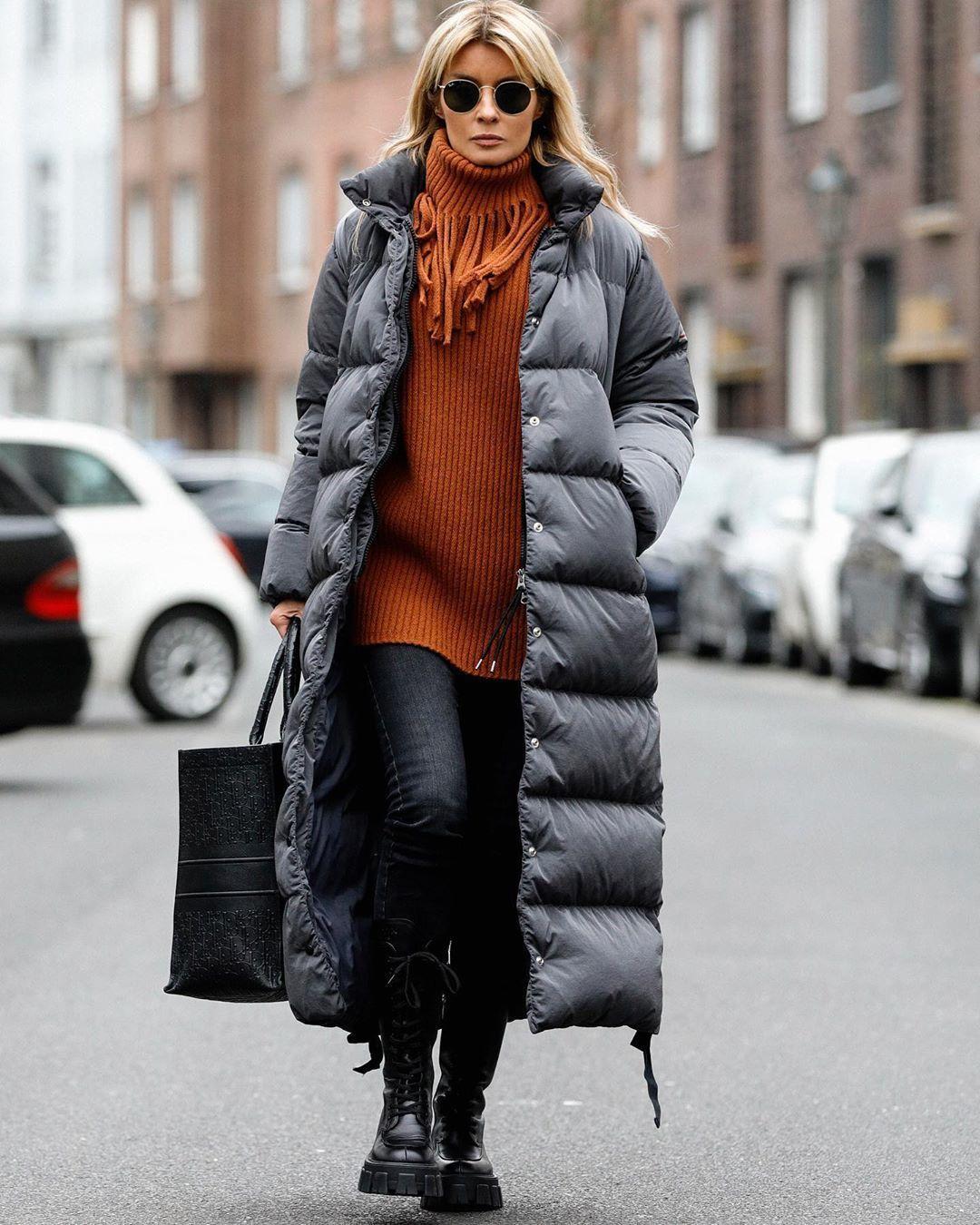 jacket puffer jacket long coat black boots black jeans turtleneck bag