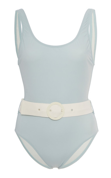 Solid & Striped Anne-Marie Belted Swimsuit in blue