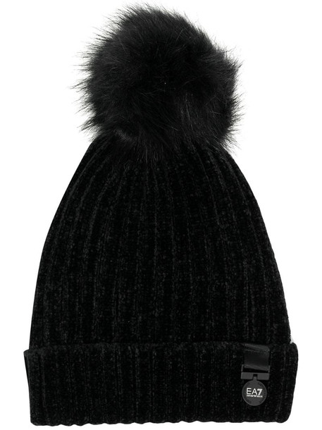 Ea7 Emporio Armani pompom knitted beanie in black