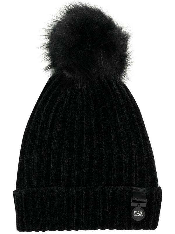 Ea7 Emporio Armani pompom knitted beanie in black