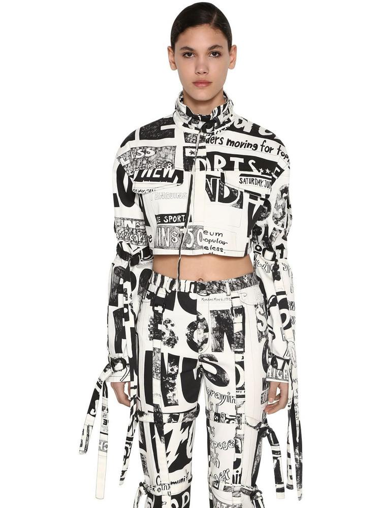 JEREMY SCOTT Cropped Cotton Denim Jacket in black / white
