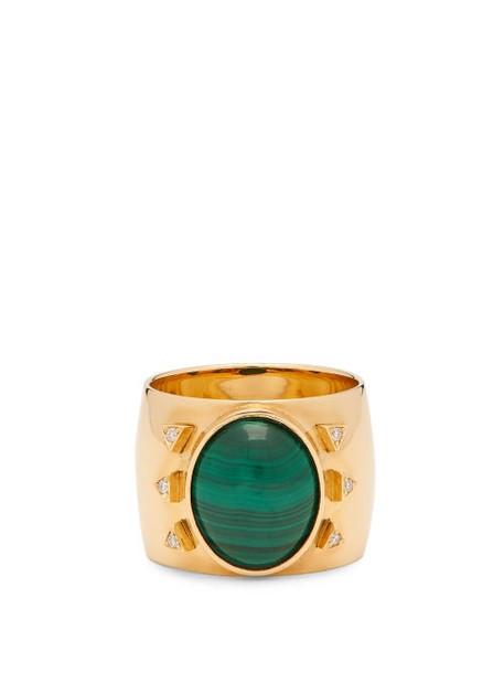Mukhi Sisters - The Brightness Diamond, Malachite & 18kt Gold Ring - Womens - Green Gold