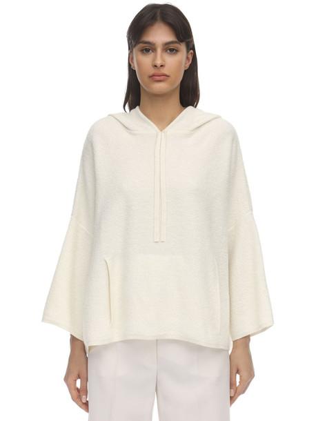 AGNONA Hooded Cashmere & Cotton Sweater in white