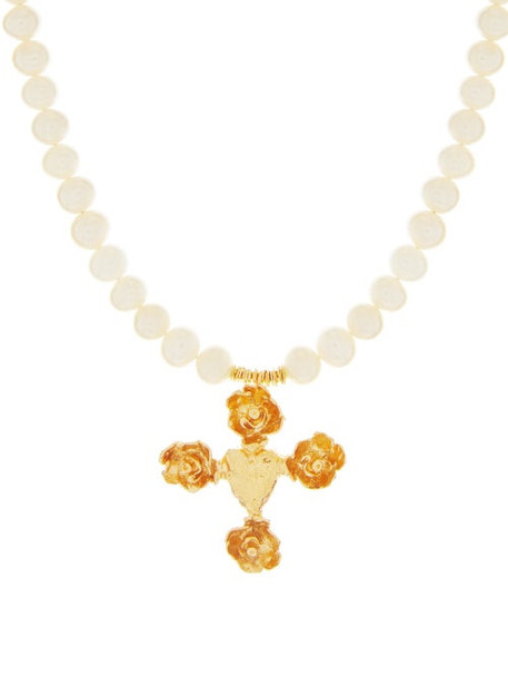 Elise Tsikis - Praha 18kt Gold-plated Pearl Necklace - Womens - Pearl
