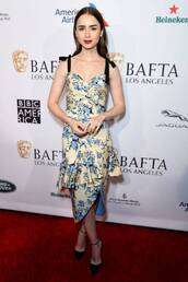 top,floral,floral top,lily collins,celebrity,midi skirt