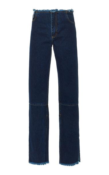 Marques Almeida Split Hem High-Rise Straight-Leg Jeans Size: 10 in blue