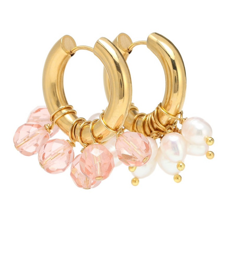 Timeless Pearly Mismatched hoop earrings in gold