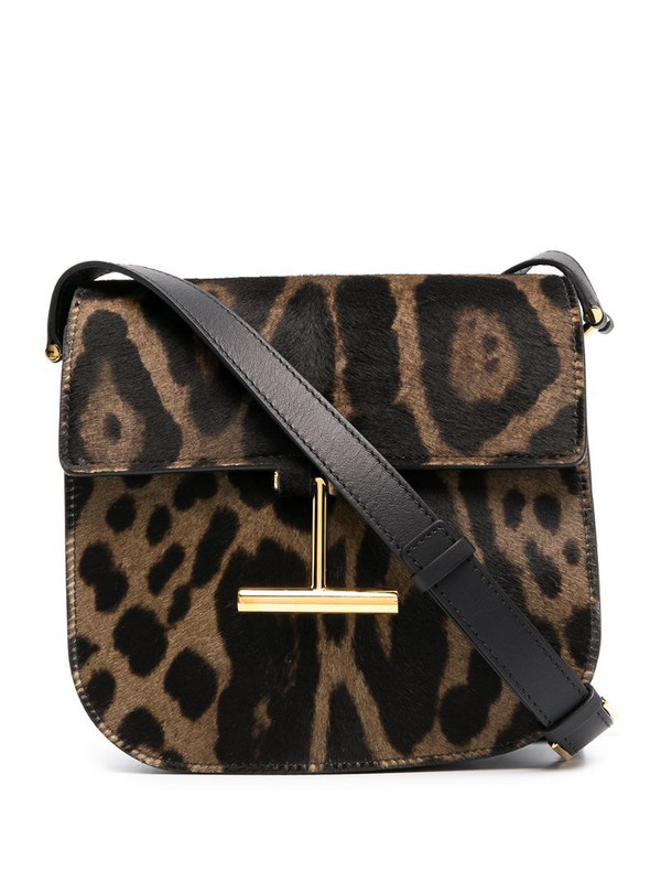 Tom Ford leopard-print crossbody bag in brown
