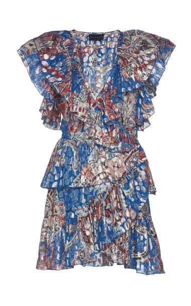 Dundas Ruffled Metallic Fil Coupé Silk-Blend Mini Dress in blue
