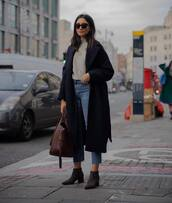 coat,wool coat,navy coat,ankle boots,cropped jeans,shoulder bag,brown bag,turtleneck sweater