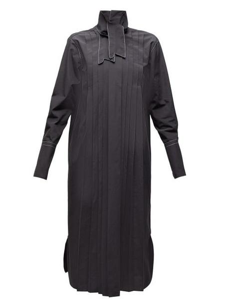 Marni - Neck Tie Pleated Cotton Shirtdress - Womens - Black
