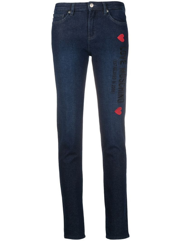 Love Moschino embroidered logo skinny jeans in blue