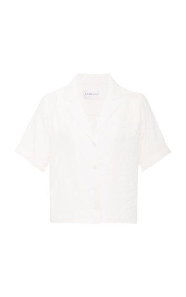 Anemone The Maq Button Up Short Sleeve Shirt In Fine Gage Ramie Linen in white