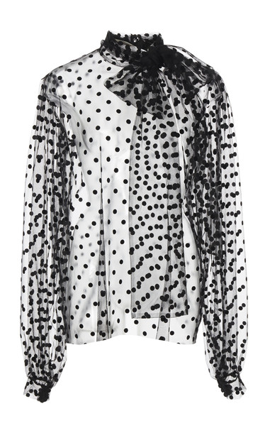 Costarellos Sheer Polka-Dot Tulle Blouse Size: 42 in black
