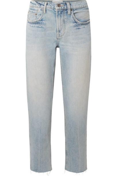 Current/Elliott - The His Cropped Distressed Boyfriend Jeans - Light denim