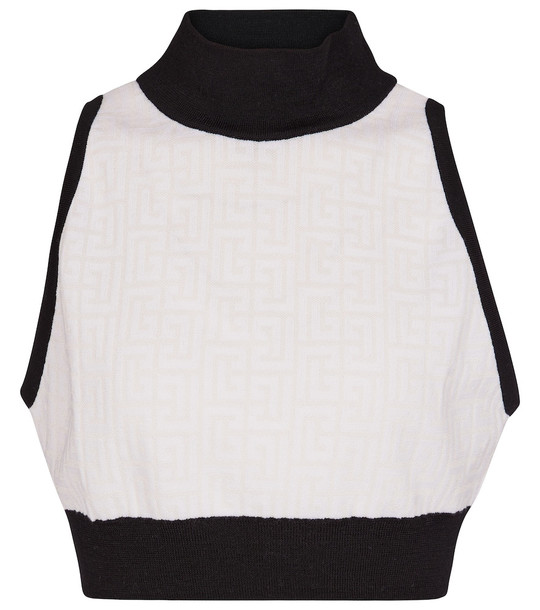 Balmain High-neck wool-blend crop top in white