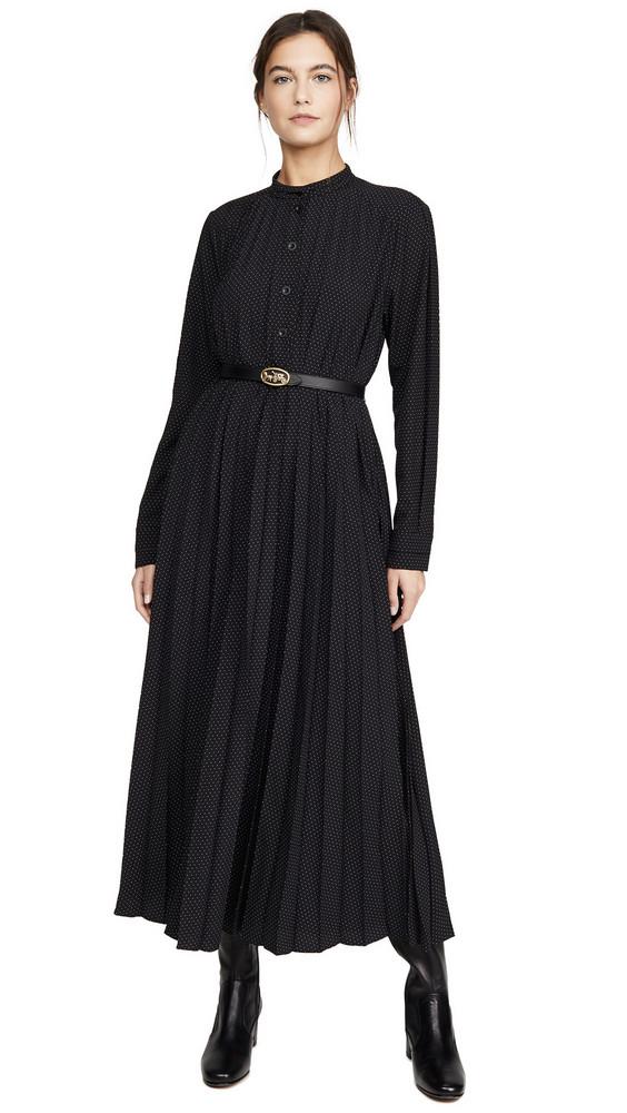 Coach 1941 Micro Dot Dress with Belt in black / cream