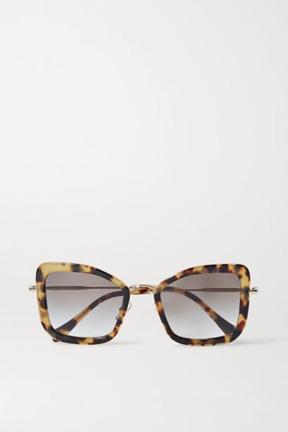Miu Miu - Oversized Cat-eye Tortoiseshell Acetate And Gold-tone Sunglasses