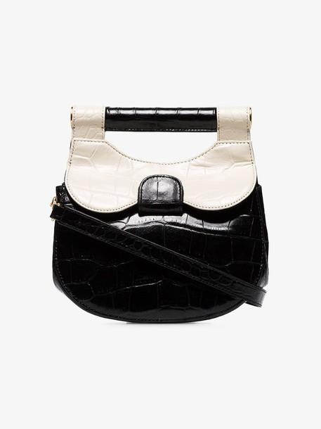 Staud black and white Madeline leather mini bag