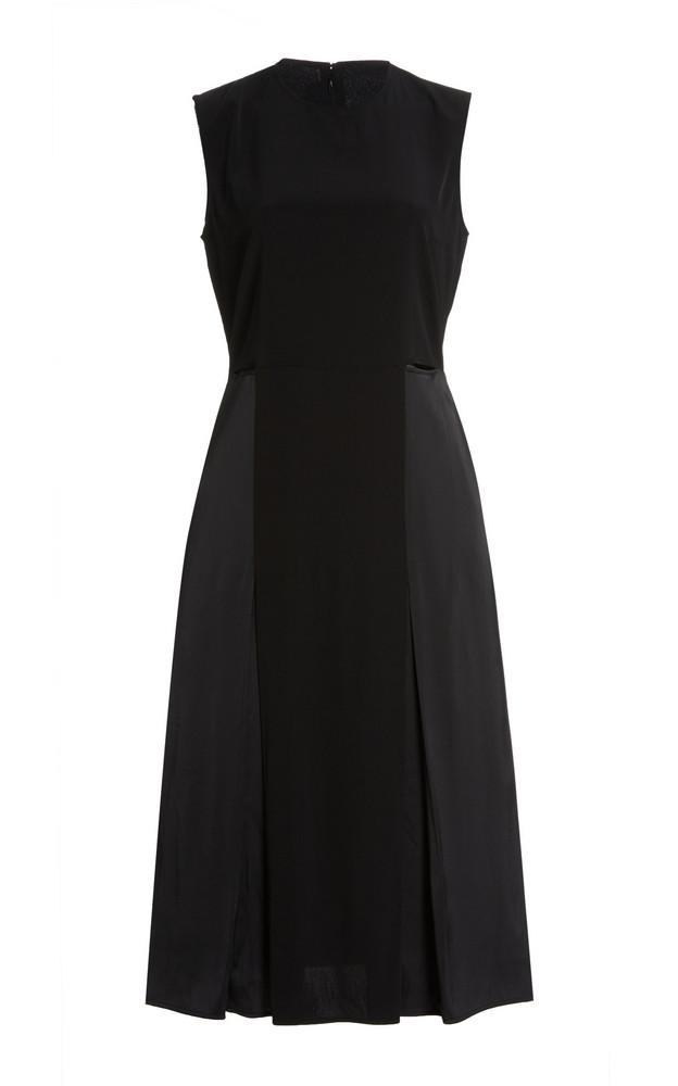 Victoria Victoria Beckham Cutout Satin-Crepe Midi Dress in black