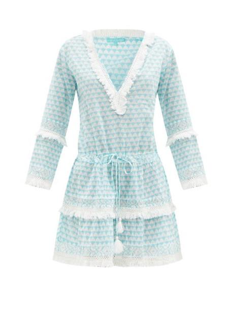 Melissa Odabash - Claudia Tile-print Cotton-poplin Mini Dress - Womens - Light Blue