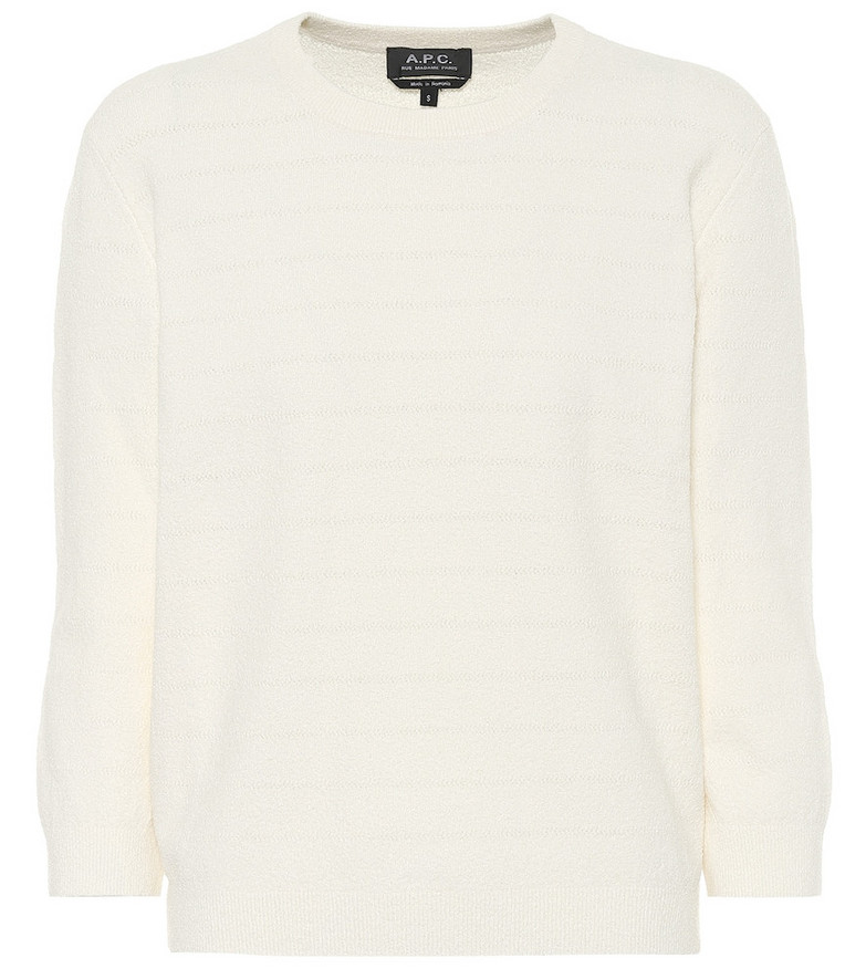 A.P.C. Zoe cotton-blend terrycloth sweater in white
