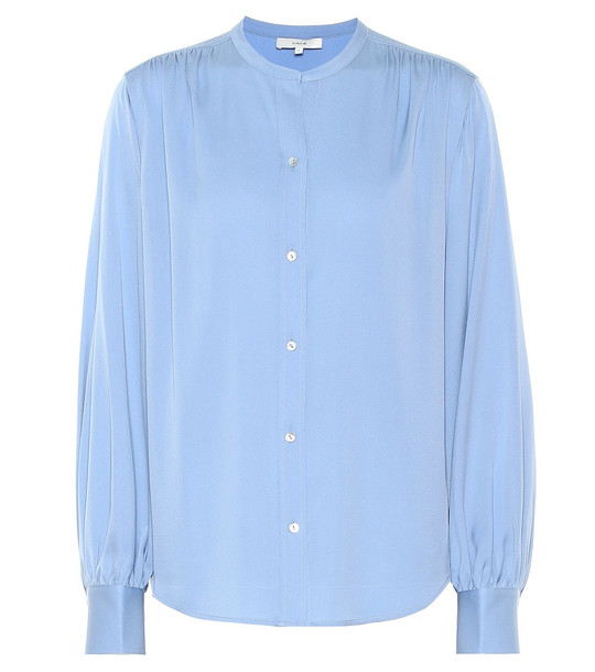Vince Stretch-silk blouse in blue
