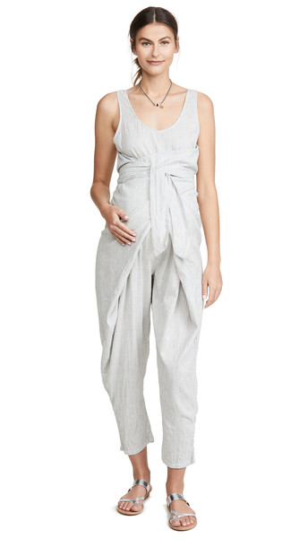 HATCH The Wrap Around Jumpsuit in black / ivory