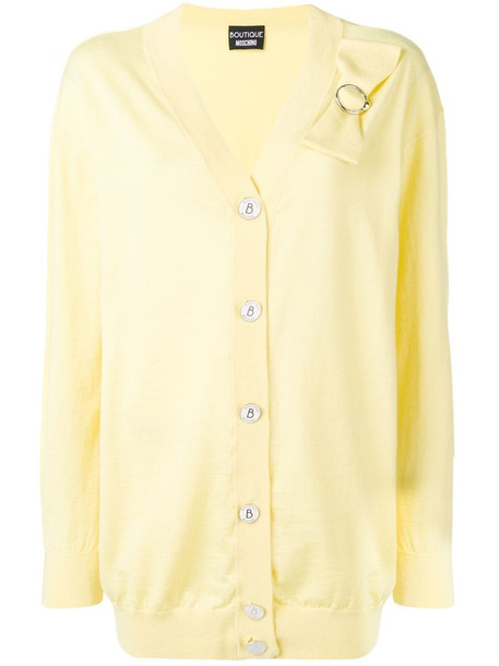 Boutique Moschino bow detail cardigan in yellow